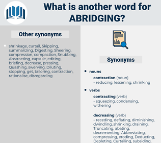 Abridging, synonym Abridging, another word for Abridging, words like Abridging, thesaurus Abridging