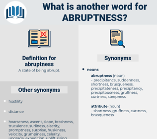 abruptness, synonym abruptness, another word for abruptness, words like abruptness, thesaurus abruptness