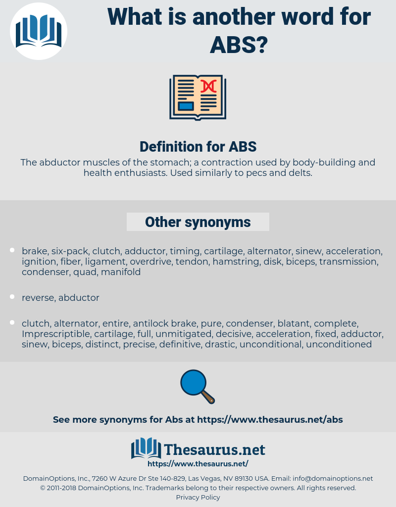 ABS, synonym ABS, another word for ABS, words like ABS, thesaurus ABS