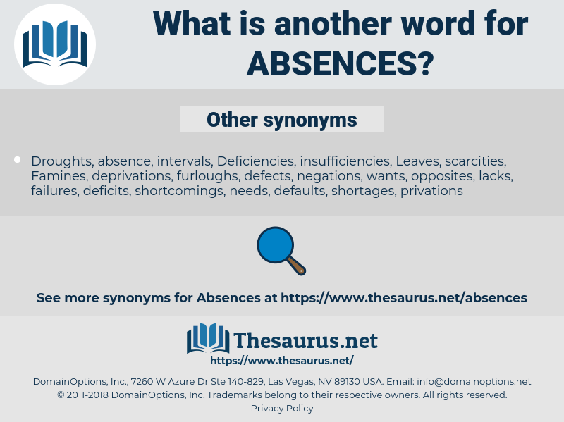 absences, synonym absences, another word for absences, words like absences, thesaurus absences