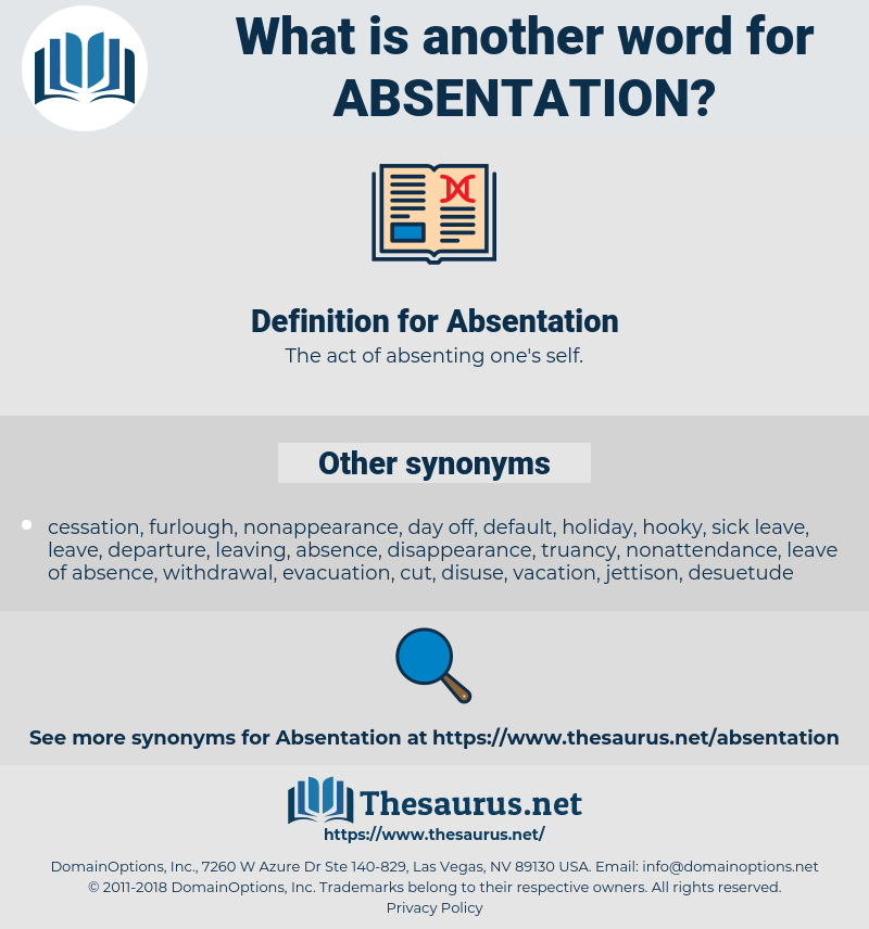 Absentation, synonym Absentation, another word for Absentation, words like Absentation, thesaurus Absentation