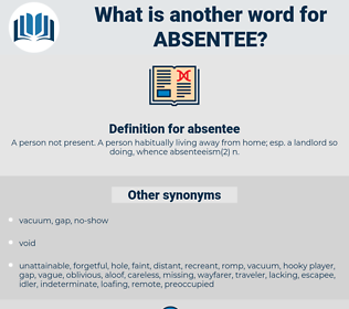 absentee, synonym absentee, another word for absentee, words like absentee, thesaurus absentee