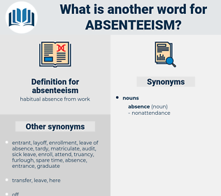 absenteeism, synonym absenteeism, another word for absenteeism, words like absenteeism, thesaurus absenteeism