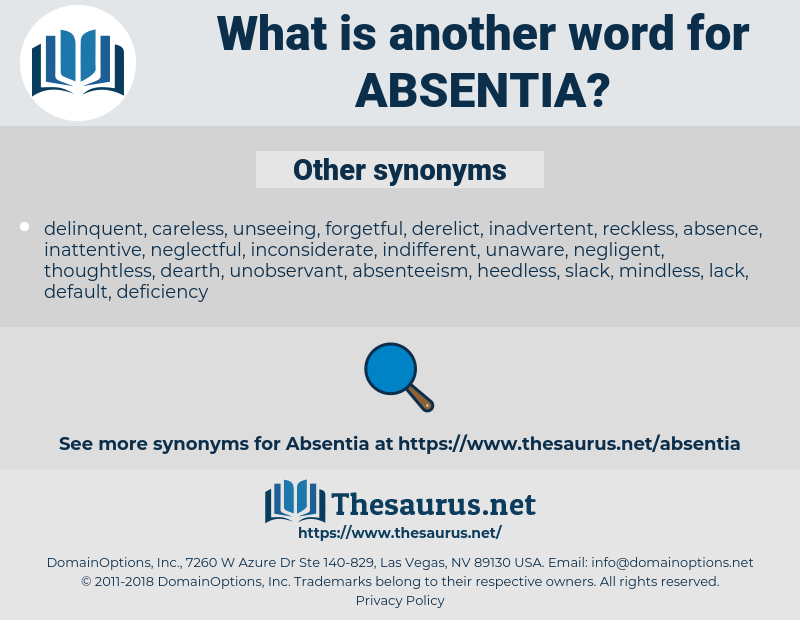 Synonyms for ABSENTIA - Thesaurus net