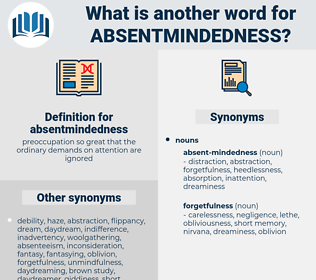 absentmindedness, synonym absentmindedness, another word for absentmindedness, words like absentmindedness, thesaurus absentmindedness