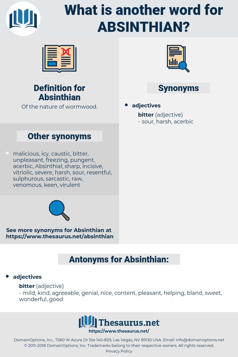 Absinthian, synonym Absinthian, another word for Absinthian, words like Absinthian, thesaurus Absinthian