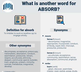 absorb, synonym absorb, another word for absorb, words like absorb, thesaurus absorb