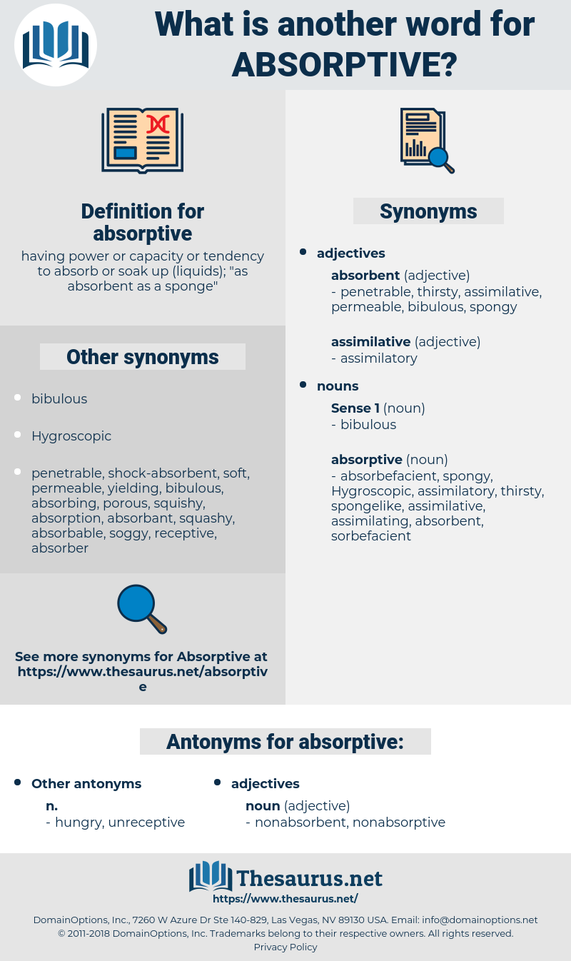 absorptive, synonym absorptive, another word for absorptive, words like absorptive, thesaurus absorptive