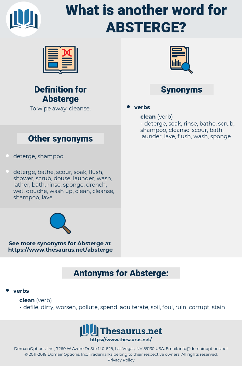 Absterge, synonym Absterge, another word for Absterge, words like Absterge, thesaurus Absterge