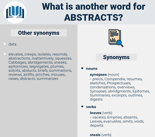 abstracts, synonym abstracts, another word for abstracts, words like abstracts, thesaurus abstracts
