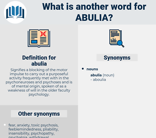 abulia, synonym abulia, another word for abulia, words like abulia, thesaurus abulia