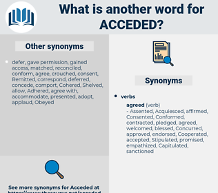 Acceded, synonym Acceded, another word for Acceded, words like Acceded, thesaurus Acceded