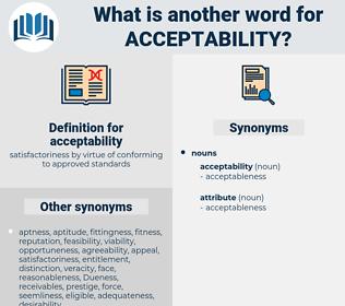 acceptability, synonym acceptability, another word for acceptability, words like acceptability, thesaurus acceptability
