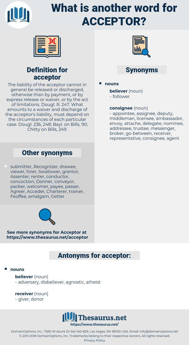 acceptor, synonym acceptor, another word for acceptor, words like acceptor, thesaurus acceptor
