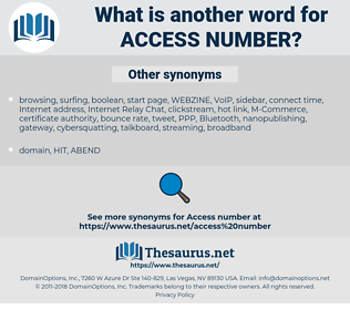access number, synonym access number, another word for access number, words like access number, thesaurus access number