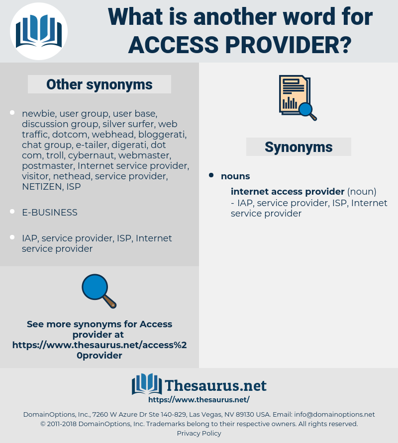 access provider, synonym access provider, another word for access provider, words like access provider, thesaurus access provider