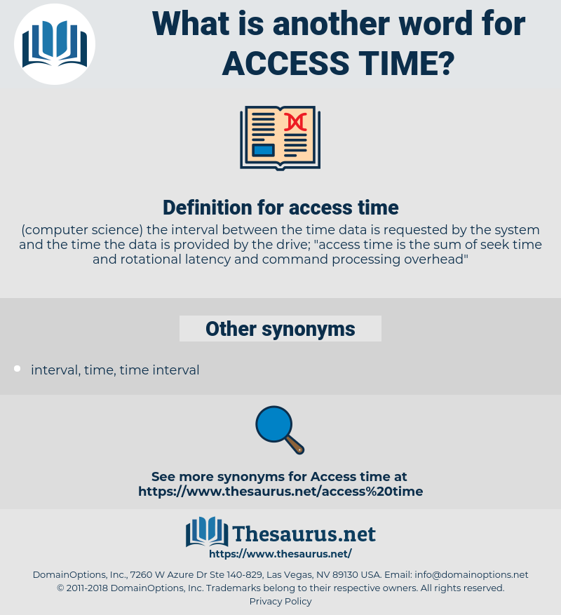 access time, synonym access time, another word for access time, words like access time, thesaurus access time