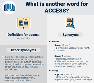 access, synonym access, another word for access, words like access, thesaurus access