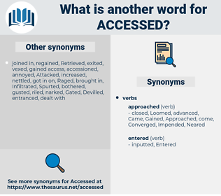 accessed, synonym accessed, another word for accessed, words like accessed, thesaurus accessed