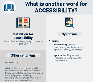 accessibility, synonym accessibility, another word for accessibility, words like accessibility, thesaurus accessibility