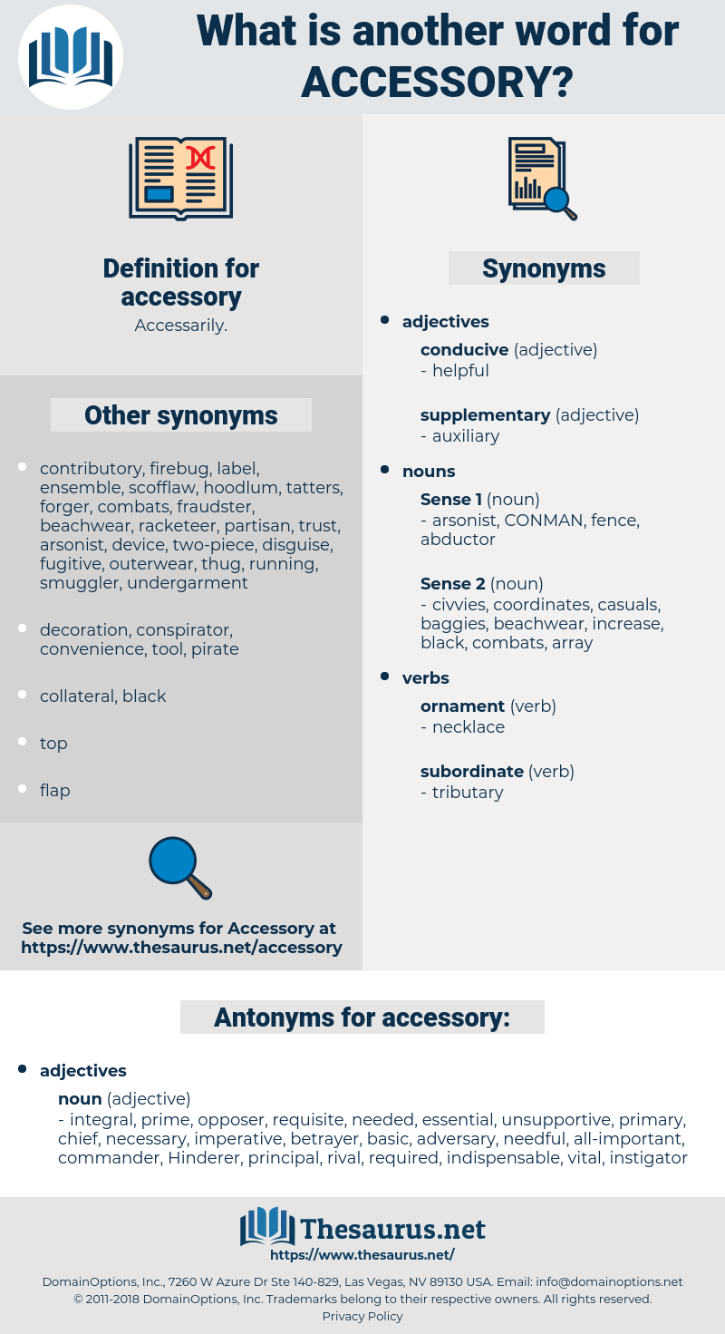 accessory, synonym accessory, another word for accessory, words like accessory, thesaurus accessory