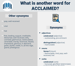 acclaimed, synonym acclaimed, another word for acclaimed, words like acclaimed, thesaurus acclaimed