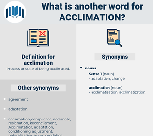 acclimation, synonym acclimation, another word for acclimation, words like acclimation, thesaurus acclimation