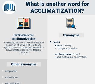 acclimatization, synonym acclimatization, another word for acclimatization, words like acclimatization, thesaurus acclimatization