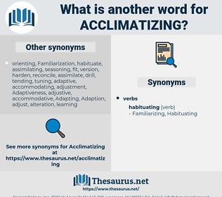 Acclimatizing, synonym Acclimatizing, another word for Acclimatizing, words like Acclimatizing, thesaurus Acclimatizing