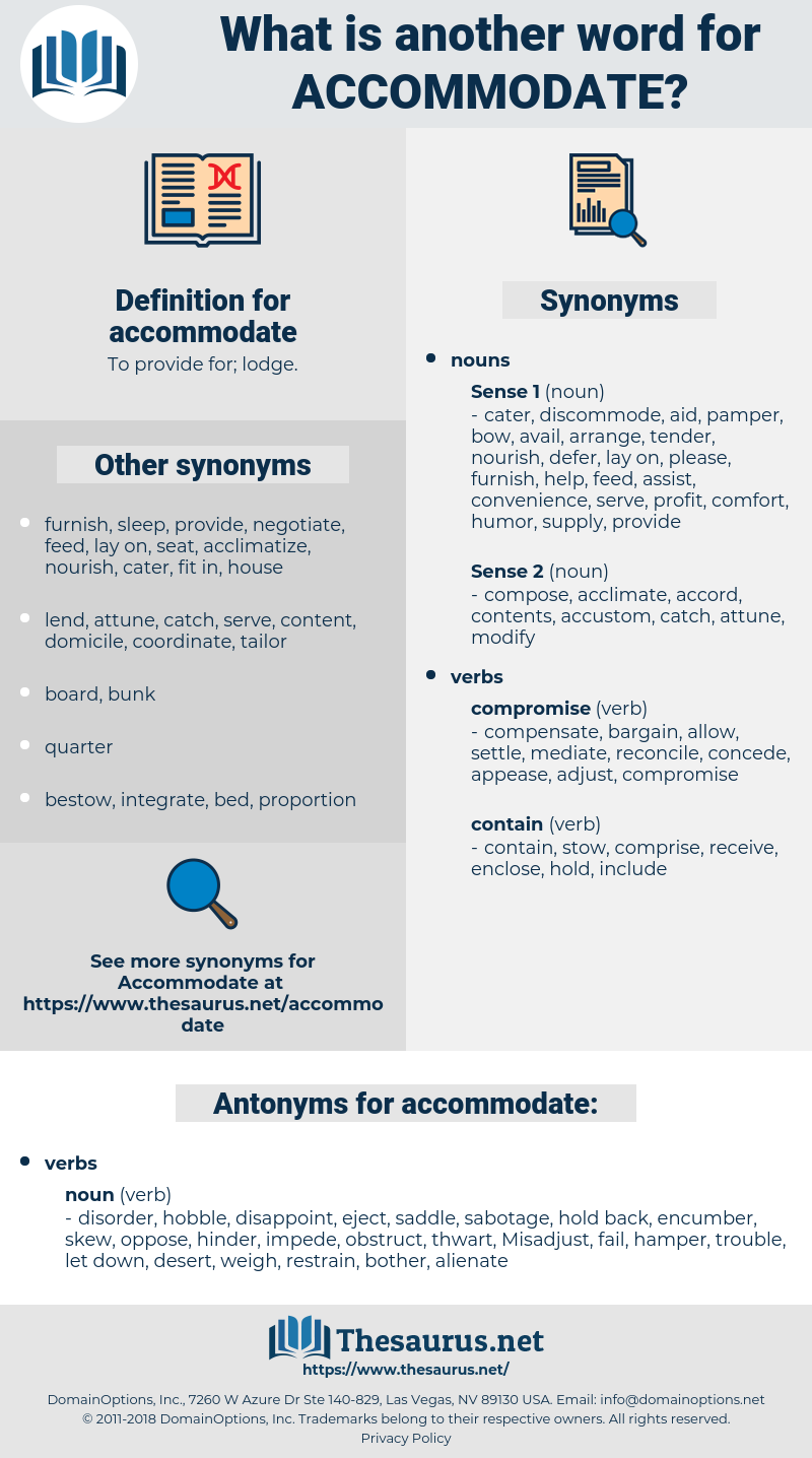 Synonyms For Accommodate Antonyms For Accommodate Thesaurus Net