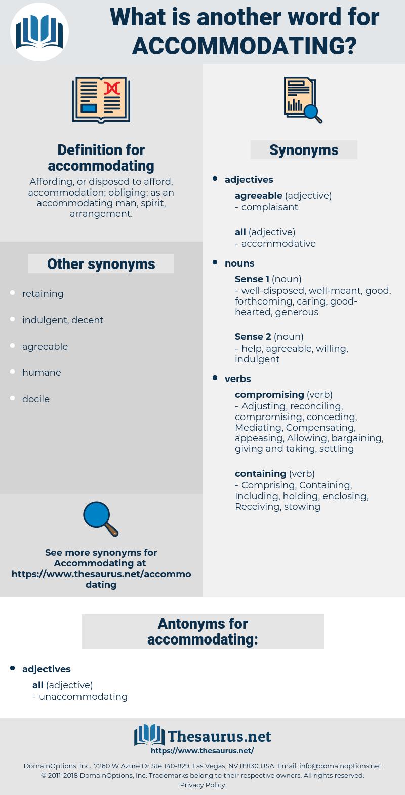 accommodating, synonym accommodating, another word for accommodating, words like accommodating, thesaurus accommodating