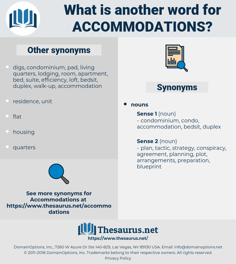accommodations, synonym accommodations, another word for accommodations, words like accommodations, thesaurus accommodations