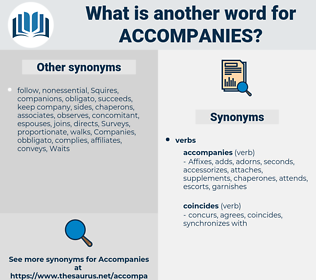 accompanies, synonym accompanies, another word for accompanies, words like accompanies, thesaurus accompanies