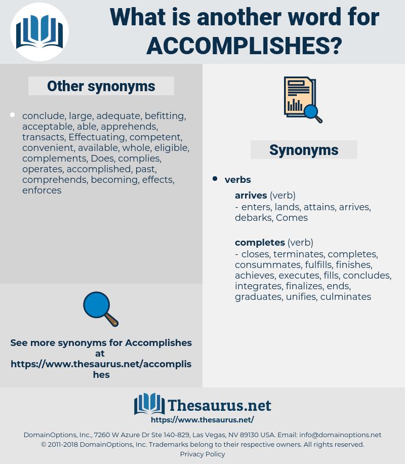 accomplishes, synonym accomplishes, another word for accomplishes, words like accomplishes, thesaurus accomplishes