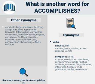 accomplishes, synonym accomplishes, another word for accomplishes, words like accomplishes, thesaurus accomplishes