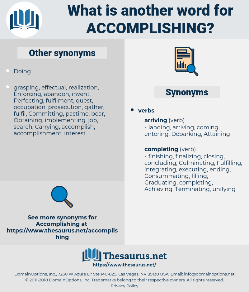Accomplishing, synonym Accomplishing, another word for Accomplishing, words like Accomplishing, thesaurus Accomplishing