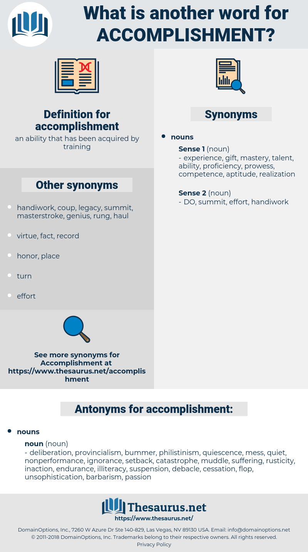 Acomplishment synonyms for accomplishment, antonyms for accomplishment