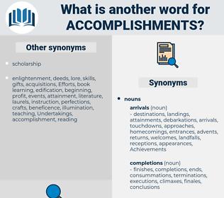accomplishments, synonym accomplishments, another word for accomplishments, words like accomplishments, thesaurus accomplishments