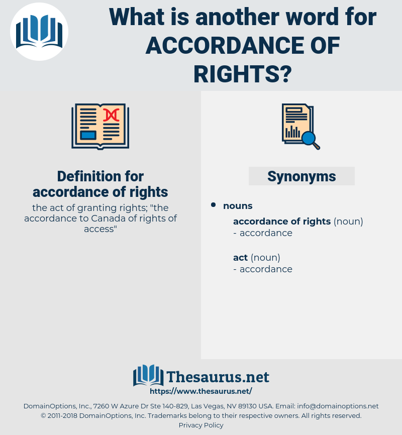 accordance of rights, synonym accordance of rights, another word for accordance of rights, words like accordance of rights, thesaurus accordance of rights