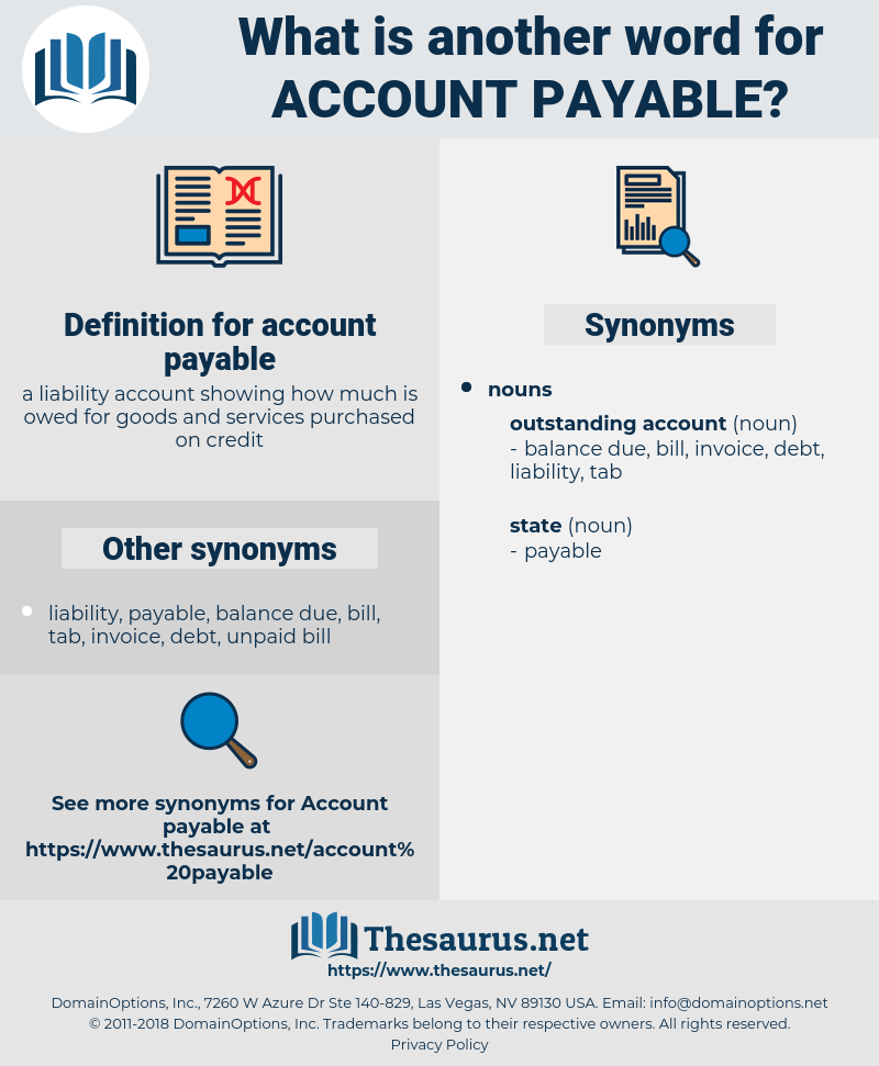 account payable, synonym account payable, another word for account payable, words like account payable, thesaurus account payable
