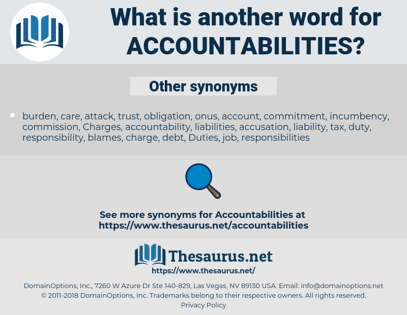 accountabilities, synonym accountabilities, another word for accountabilities, words like accountabilities, thesaurus accountabilities