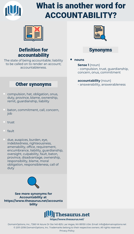 accountability, synonym accountability, another word for accountability, words like accountability, thesaurus accountability