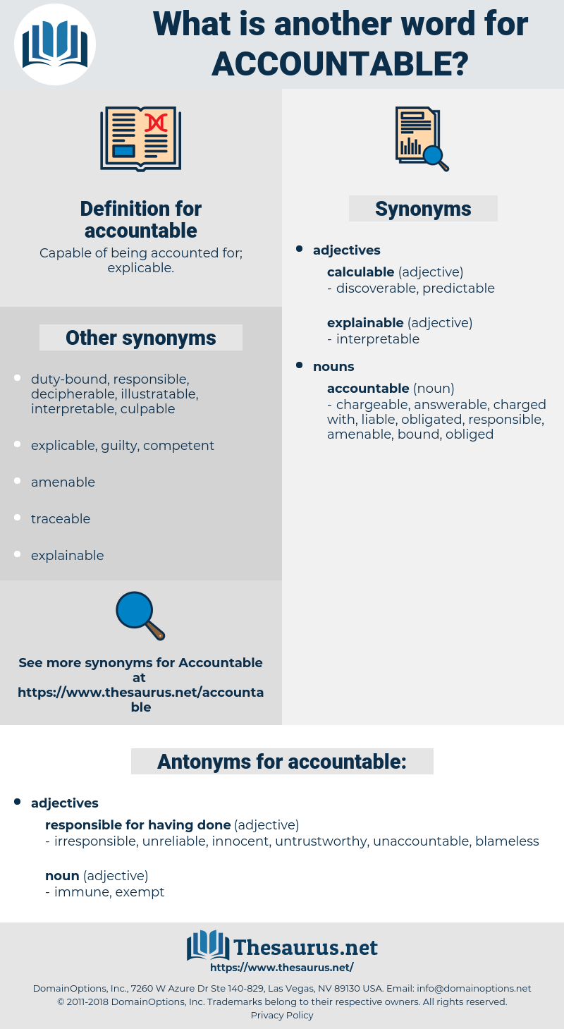 accountable, synonym accountable, another word for accountable, words like accountable, thesaurus accountable