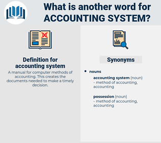 accounting system, synonym accounting system, another word for accounting system, words like accounting system, thesaurus accounting system