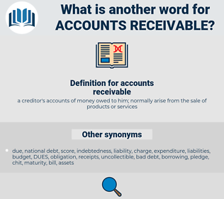 accounts receivable, synonym accounts receivable, another word for accounts receivable, words like accounts receivable, thesaurus accounts receivable