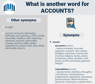 accounts, synonym accounts, another word for accounts, words like accounts, thesaurus accounts