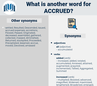 accrued, synonym accrued, another word for accrued, words like accrued, thesaurus accrued