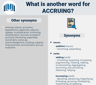 Accruing, synonym Accruing, another word for Accruing, words like Accruing, thesaurus Accruing