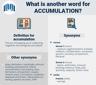 accumulation, synonym accumulation, another word for accumulation, words like accumulation, thesaurus accumulation