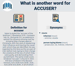 accuser, synonym accuser, another word for accuser, words like accuser, thesaurus accuser